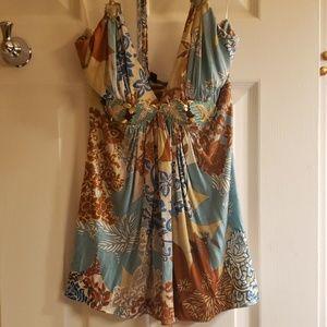 SKY sleevesness V neck acorn blouse, sz S